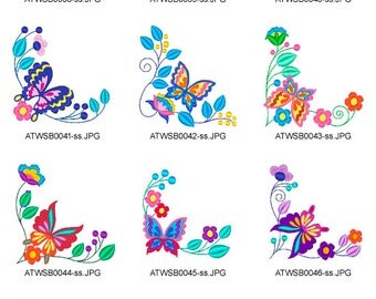 Jacobean-Butterfly-Corners ( 10 Machine Embroidery Designs from ATW )