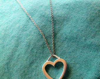 Lovely and Dainty Authentic Tiffany Sterling Silver Heart Necklace - Mint Condition!