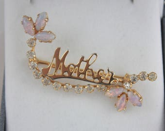 1950's Mother Brooch, Vintage Mother Brooch, Crystal Faux Opal Brooch, Opalescent Brooch, Mothers Day Gift