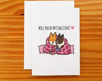 "Corgi Valentine's Day Snuggle Greeting Card   5x7"" Card with Envelope   I Love You Valentine Corgi Cards   Handmade"
