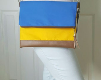 Royal Blue Yellow Brown Crossbody Bag, Brown Faux Leather, Crossbody Purse, Clutch Purse, Wristlet, Shoulder Bag, Handbag, Birthday Gift