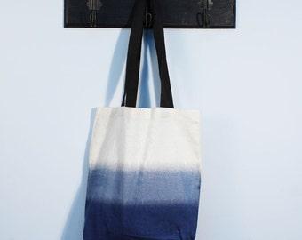 Blue Ombre Tote Bag - 100% Cotton Reusable Bag - Cotton Shopper - Ombre tote bag