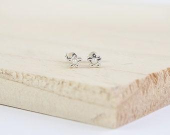 Zia Flower Stud Earrings, Sterling Silver, Freshwater Pearl, Pearl Earrings, Silver Flower Earrings, Pearl Flower Earrings, Flower Jewelry