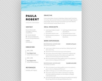 "Resume Template / CV Template + Cover Letter for MS Word and Photoshop | Instant Digital Download - ""Sea"""