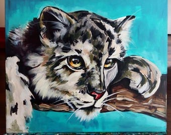 Cat, painting, wild, art, acrylic, interior