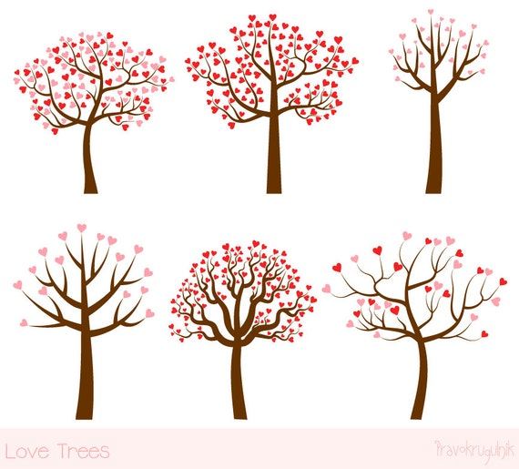 Love Tree Clipart Set Wedding Tree Clip Art Valentine
