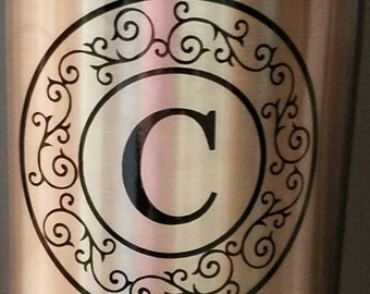 Monogram Circle Decal w/swirl design. Permanent vinyl. Perfect for Yeti & Rtic tumbler cups, phones, laptops, car windows, home decor.