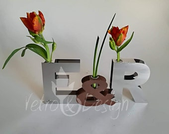 "H 7.87 inch / Letter Vase Collection in Cor-ten Steel or Stainless Steel, Letter  ""@..&..A..Z"" with SuperMagnets, H7,87inch"