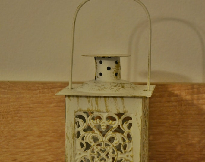 10%OFF Small vintage off white Moroccan metallic lantern / lanterns