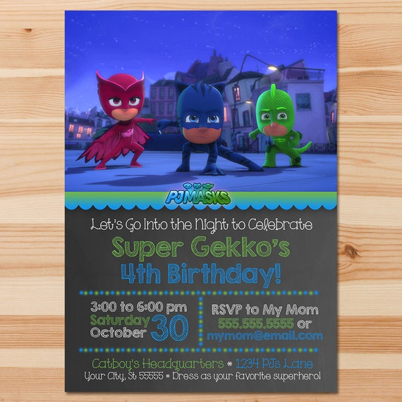 PJ Masks Birthday Invite - Blue & Green Chalkboard - PJ Masks Invitation - PJ Masks Birthday Party - Pj Masks Party Printable Custom Invite