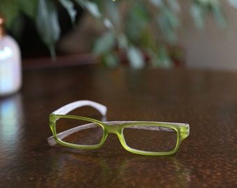 Reading Glasses - Sweet Pea Green + 1.50 with unique adorned green trimmed tweed button case-Matte plastic wood design frame Free Shipping!