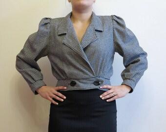 Black and White Jacket Houndstooth Womens Jacket Wool Blend Womens Blazer Cropped Jacket Double Breasted Jacket Womens Blazer Medium Size