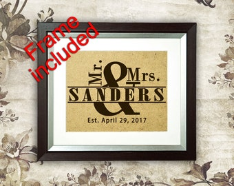 Wedding gift Wedding frame Wedding Shower Gifts Mr. & Mrs. Personalized Wedding gift for couple Bridal Shower Gift for bride and groom