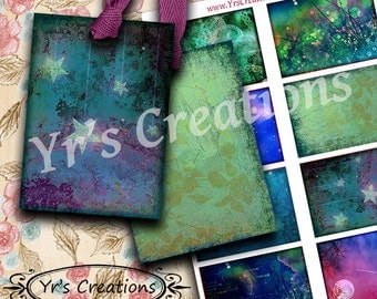 STARRY NIGHTS ATC images digital background instant download printable collage sheet for mixed media, and artwork