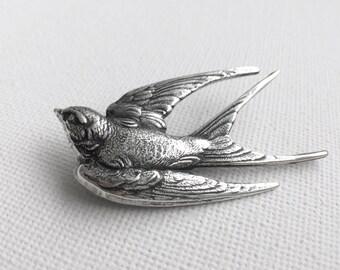 Bird Brooch, Silver Bird Brooch, Bird Sweater Pin, Coat Pin, Winter Pin, Hat Pin, Brooches, Swallow Brooch, Silver Coat Pin, Women's Gift