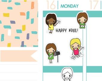 Happy Mail Girl Emojis | Planner Stickers