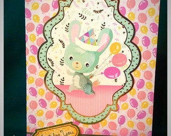 Just For You Greeting Card. Handmade Greeting Card. Birthday Card. Vintage Handmade.