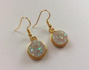 Beautiful gold druzy  earrings , druzy jewelery , faux druzy , earrings , gifts , mothersday , kawaii