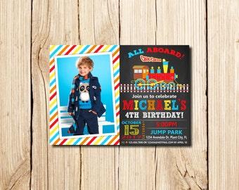 TRAIN INVITATION, Train Birthday Invitation, Train Birthday Party, Blue, Red, Train Party, chalkboard, 2nd birthday invitation, with photo