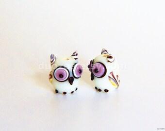 2 Pcs Handmade Lampwork Glass Beads,  Lampwork Owl Beads, Micro Miniature Owl Figurines, Lampwork Owl Figures, Fairy Garden, Fairy House