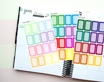 48 Rainbow Half Boxes Themed Planner Stickers for Erin Condren, Kikki K, Filofax, Happy Planner, Websters Pages