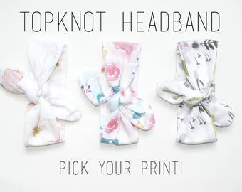 Topknot Headband, Newborn Headband, Newborn Topknot Headband, Newborn Bow, Baby Girl Accessories, Baby Girl Headband, Floral Headband