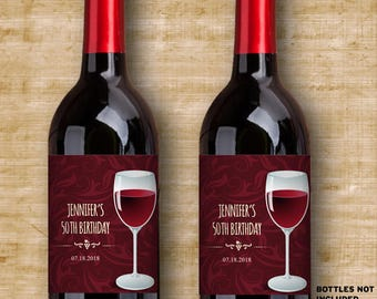 "Printable Burgundy Wine Glass Wine Bottle Labels - Vineyard Winery Celebration; Personalized 4"" x 5"" Labels - Editable PDF, Instant Download"