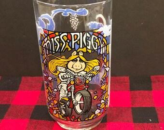 Vintage Miss Piggy Glass Tumbler The Great Muppet Caper McDonalds Cup 1981 Jim Henson Muppet Pig Motorcycle