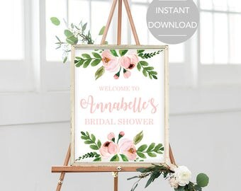 Bridal Shower Welcome Sign Floral Welcome Signs Pink Floral