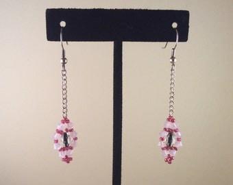 Rose Crystal Drop Earrings