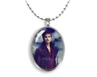 Captain Hook Oval Pendant Once upon a time Necklace  Fandom Jewelry Cosplay Fangirl Fanboy