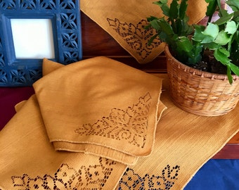 Vintage Bohemian Yellow Gold Cutwork Design Square Napkins - Set of Four - Bohemian Dining Decor