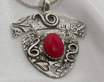 "Item 6090 - ""Passion"" Handcrafted & sculpted 999 Fine and 925 Sterling Silver Genuine Red Coral Swirls Pendant"