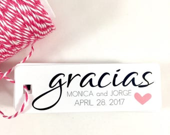 Muchas Gracias Tag, Thank You Tag, Fiesta Tag, Wedding Tag, Favor Tag, Wedding Favor Tag, Personalized Tag, Gracias Tag, Gracias Wedding, 18