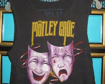"Vintage 1985 MOTLEY CRUE ""Theatre of Pain"" 2-Sided Ripped T-shirt"