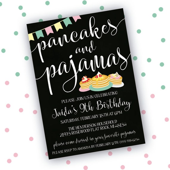 Pancakes and Pajamas Invitation Sleepover Invitation