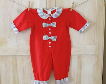 Reborn Baby Clothes, Reborn Toddler Outfit Reborn Girl, Vintage Red Corduroy Christmas Romper 12 Months, Baby Toddler Clown Costume Outfit