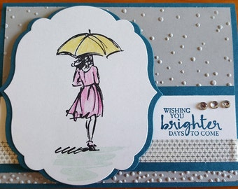 Wishing You Brighter Days to Come Umbrella Puddle Raining Handmade Stampin' Up Greeting Card