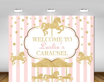 Printable Carousel Party Backdrop, Carousel Party, Pink and Gold Carousel, Carousel Baby Shower, 1st Birthday, Baby Shower, Backdrop, Girl