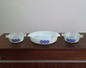 Vintage 1960s Anchor Hocking Fire King Blue Starburst Flowers 9 Inch Casserole Dish and Two 12 oz Casserole Dishes and Lids