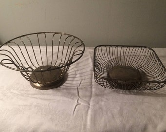 Two Vintage Silver Plate Metal Baskets