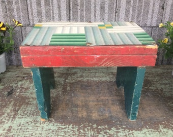 Vintage Painted Wooden Step Stool with Linoleum Top