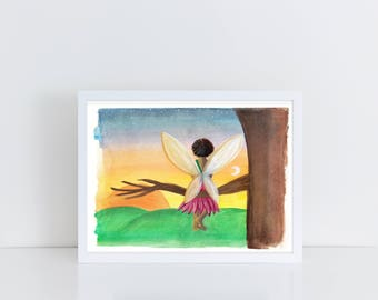 Sunrise Fairy / Fairy Art Print / Fine Art Print {Gouache Print 5X7} -- FREE SHIPPING --