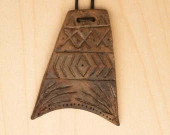 Ceramic Pit Fired Tribal Style Necklace on Leather Thong