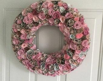 Fabric flower wreath, year round wreath, fabric wreath, all seasons wreath, summer wreath, spring wreath, everyday wreath, front door wreath