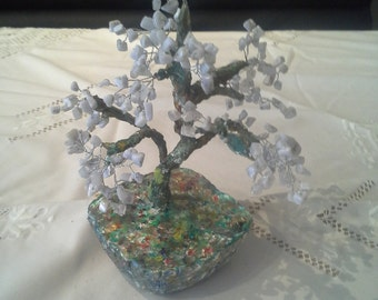 Semi-precious sapling, polymer clay, glass bead tree, silver