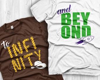 To Infinity and Beyond Shirts Disney Couples Shirts Toy story Custom Matching Shirts Couple T-shirts vacation shirts