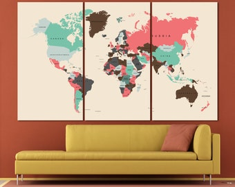 Large Colorful Travel Push Pin World Map Poster, Push pin map art  / 1,2,3,4 or 5 Panels on Canvas Wall Art for Home & Office Decoration