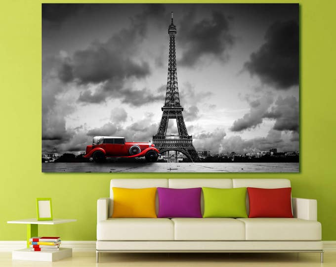 Vintage car Eiffel Tower print on canvas, Paris skyline red car France wall art, Кed car Eiffel Tower Paris balck and white canvas wall art
