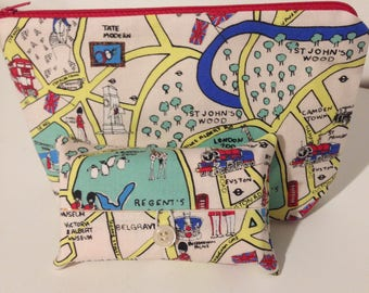 London City Makeup bag, Cosmetic Bag and Pocket Tissue holder, Travel Tissue Case, London road map wash bag and travel tissue case